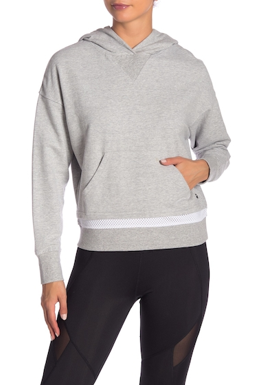 Imbracaminte Femei Marc New York Contrast Mesh Stripe Dolman Hoodie LIGHT HEATHER GREY WHITE
