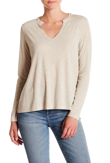 Imbracaminte Femei Abound Ribbed Split Neck Long Sleeve Top BEIGE OT MD HTR