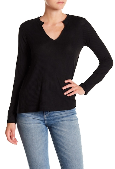 Imbracaminte Femei Abound Ribbed Split Neck Long Sleeve Top BLACK