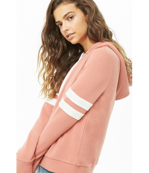 Imbracaminte Femei Forever21 Varsity-Striped French Terry Hoodie ROSECREAM