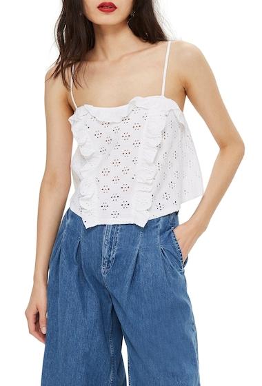 Imbracaminte Femei TOPSHOP Broderie Trim Camisole Top WHITE