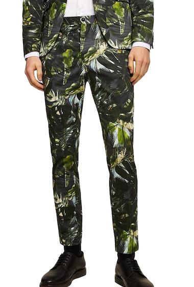 Imbracaminte Barbati TOPMAN Palm Print Ultra Skinny Smart Pants GREEN MULTI