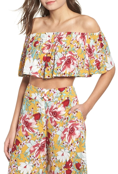 Imbracaminte Femei Leith Floral Ruffle Tube Top YELLOW MINERAL FLORAL