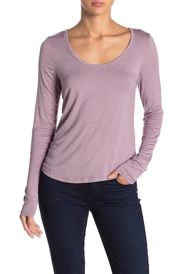 Imbracaminte Femei Melrose and Market Scoop Neck Striped Long Sleeve T-Shirt PURPLE POLISH STRIPE