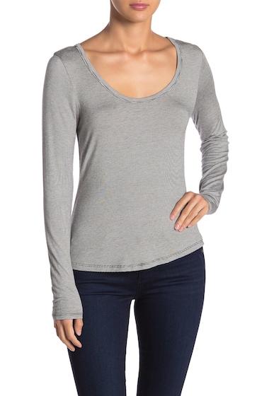 Imbracaminte Femei Melrose and Market Scoop Neck Striped Long Sleeve T-Shirt BLACK STRIPE