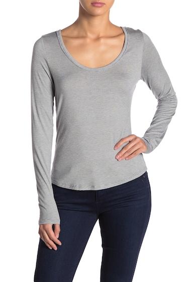 Imbracaminte Femei Melrose and Market Scoop Neck Striped Long Sleeve T-Shirt GREY URBAN STRIPE