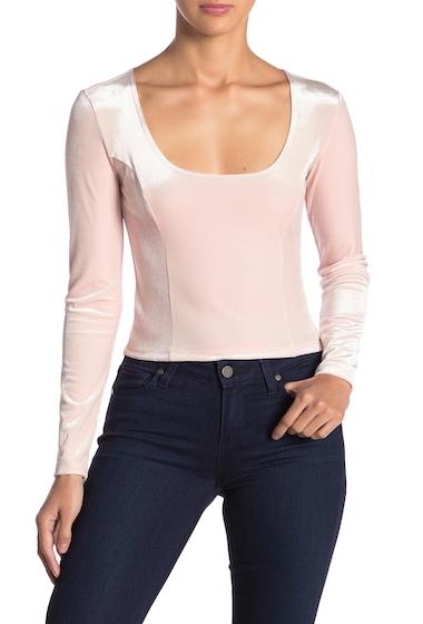 Imbracaminte Femei Free Press Velvet Long Sleeve Scoop Neck Crop Top PINK BLUSH