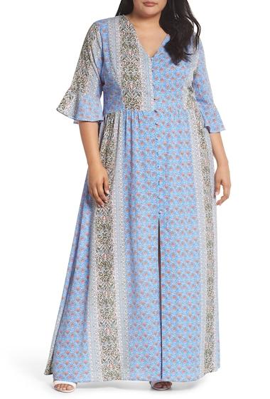 Imbracaminte Femei GLAMOROUS Button Front Maxi Dress Plus Size BLUE RUST BORDER