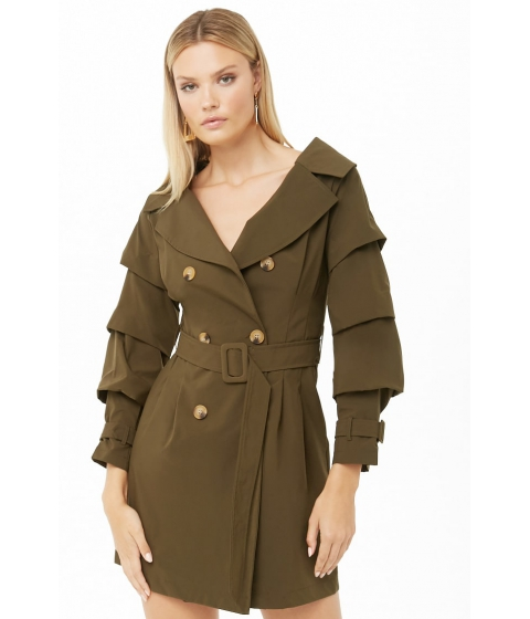 Imbracaminte Femei Forever21 Ruffled Sleeve Trench Coat OLIVE