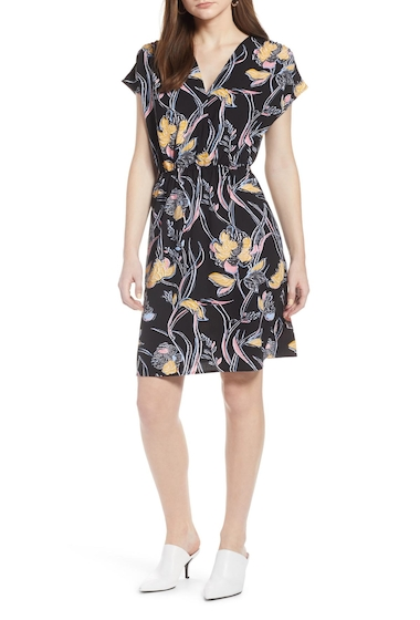 Imbracaminte Femei Halogen Faux Wrap Dress BLK- YELLOW M KAREN FLR PRT