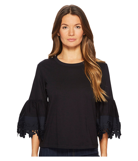 Imbracaminte Femei See by Chloe T-Shirt with Lace Trim Bell Sleeves Ultramarine