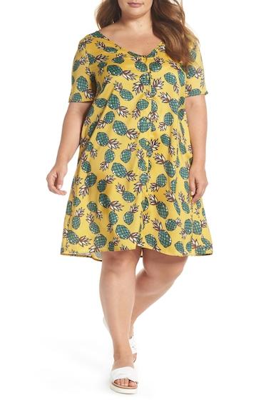 Imbracaminte Femei GLAMOROUS Button Front Pineapple Print Dress Plus Size YELLOW PINEAPPLE