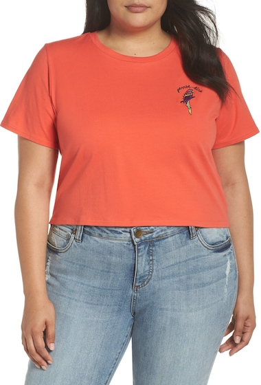 Imbracaminte Femei GLAMOROUS Parrot-Dise Embroidered Crop Tee Plus Size CORAL