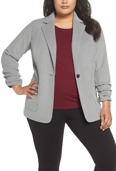 Imbracaminte Femei Vince Camuto Ruched Sleeve Mini Houndstooth Jacket Plus Size RICH BLACK