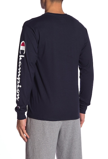 Imbracaminte Barbati Champion Logo Print Long Sleeve Tee NAVY