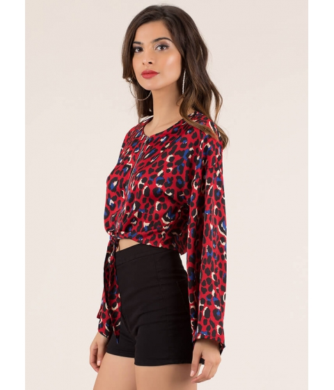 Imbracaminte Femei CheapChic Wild About Leopard Cropped Tied Blouse Red
