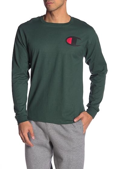 Imbracaminte Barbati Champion Logo Print Long Sleeve Tee DARK GREEN