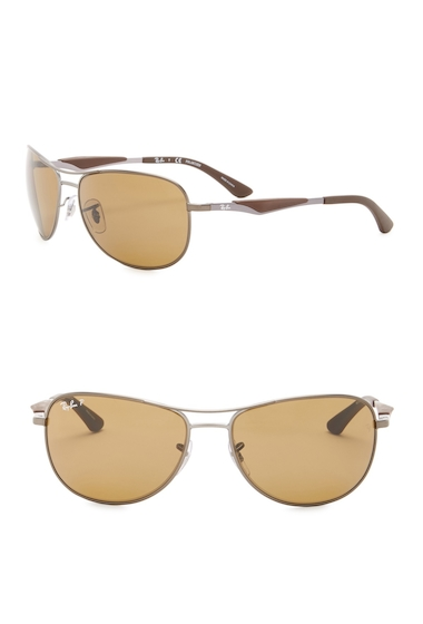 Ochelari Barbati Ray-Ban 59mm Polarized Aviator Sunglasses MTT GUNMTL