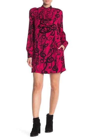 Imbracaminte Femei LOVE Moschino Front Ruffle Long Sleeve Print Dress FUXIAPRMKEYS