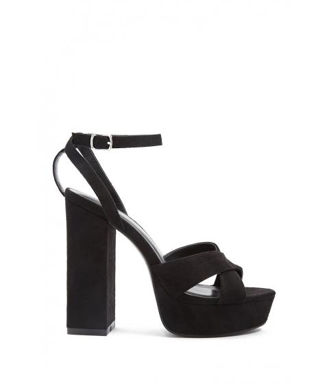 Incaltaminte Femei Forever21 Faux Suede Crisscross Block Heels BLACK