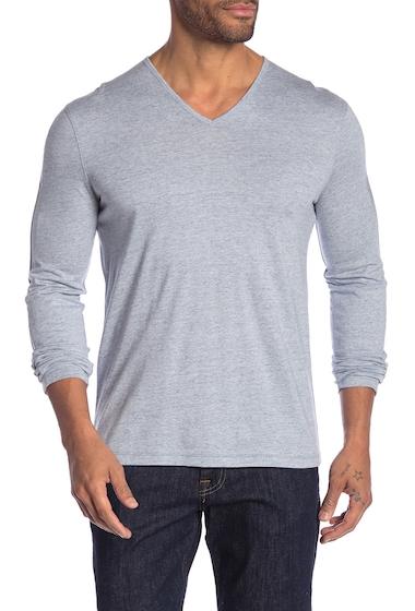 Imbracaminte Barbati John Varvatos Star USA Heathered V-Neck Long Sleeve Tee SKY BLUE