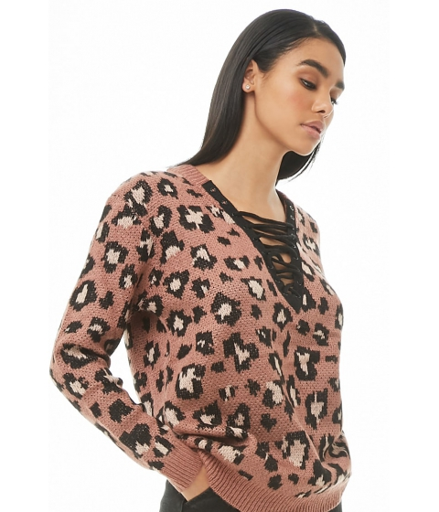Imbracaminte Femei Forever21 Leopard Lace-Up Sweater MAUVE