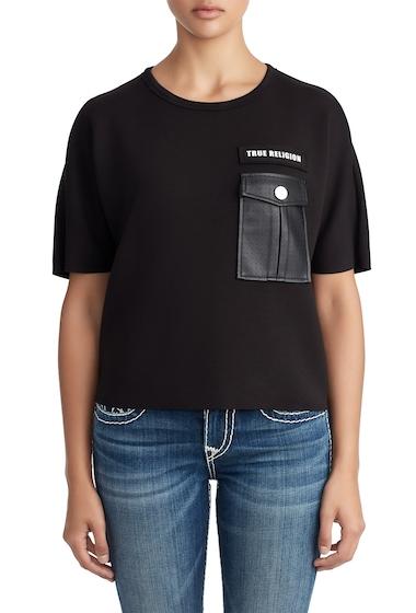 Imbracaminte Femei True Religion Faux Leather Pocket Tee BLACK