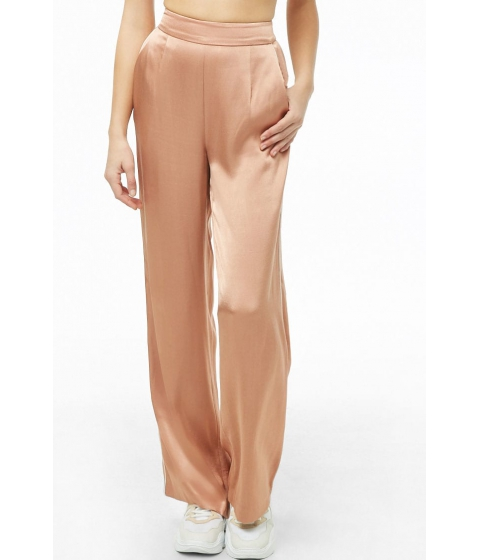 Imbracaminte Femei Forever21 Piped Wide-Leg Satin Pants ROSE GOLDCREAM