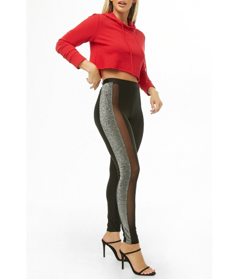 Imbracaminte Femei Forever21 Sheeny Mesh Metallic Panel Leggings BLACK