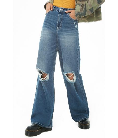 Imbracaminte Femei Forever21 Distressed Wide-Leg Jeans DARK DENIM