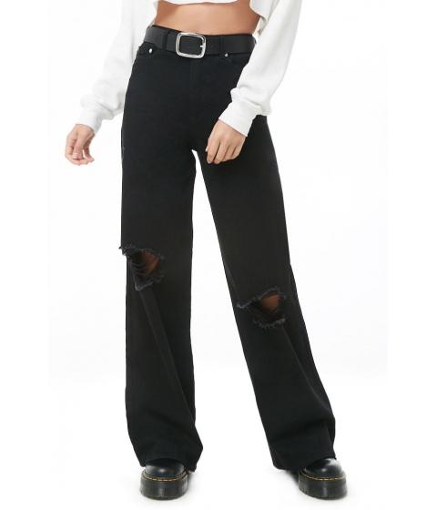 Imbracaminte Femei Forever21 Distressed Wide-Leg Jeans BLACK
