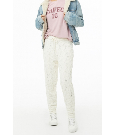 Imbracaminte Femei Forever21 Cable Knit Ankle Pants CREAM