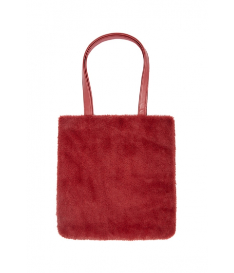 Genti Femei Forever21 Faux Fur Tote Bag BURGUNDY