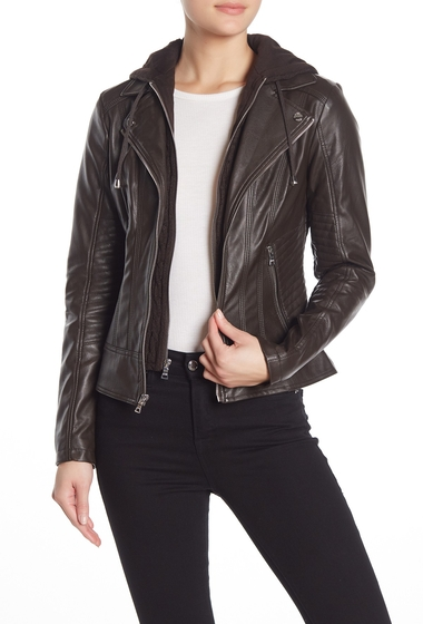 Imbracaminte Femei GUESS Faux Leather Removable Hooded Dickey Jacket ESPRESSO