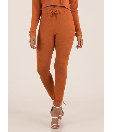 Imbracaminte Femei CheapChic Ease Into It Knit Drawstring Joggers Rust