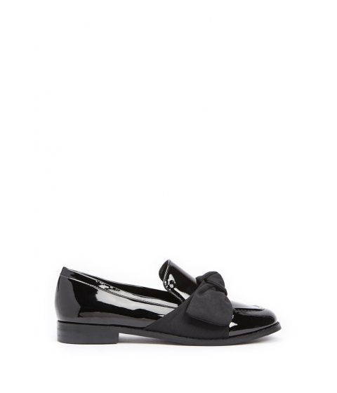 Incaltaminte Femei Forever21 Faux Patent Leather Bow Loafers BLACK