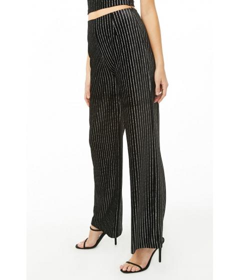 Imbracaminte Femei Forever21 Metallic Striped Pants BLACKSILVER
