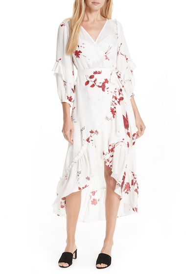 Imbracaminte Femei Joie Anawrette Floral Silk Wrap Dress PORCELAIN