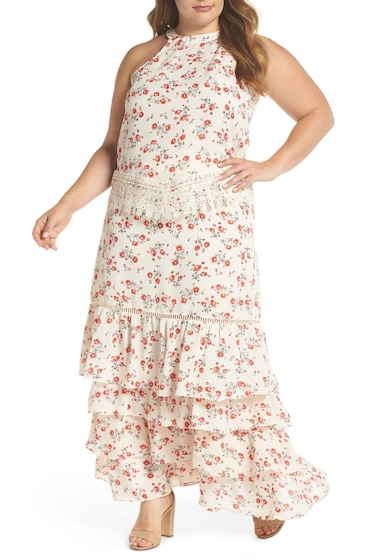 Imbracaminte Femei GLAMOROUS Floral Lace Tiered Two-Piece Dress Plus Size CREAM RED FLORAL