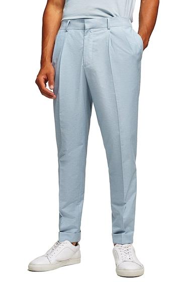 Imbracaminte Barbati TOPMAN Slim Fit Cropped Pleated Trousers BLUE