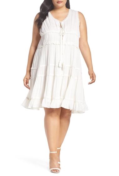 Imbracaminte Femei GLAMOROUS Crochet Trim Tiered Minidress Plus Size CREAM