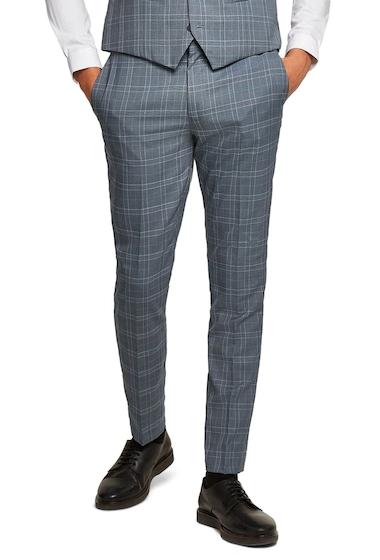 Imbracaminte Barbati TOPMAN Check Skinny Fit Suit Trousers BLUE MULTI