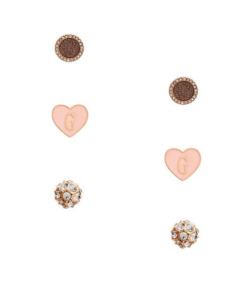 Bijuterii Femei GUESS Pink Heart Earrings Set gold