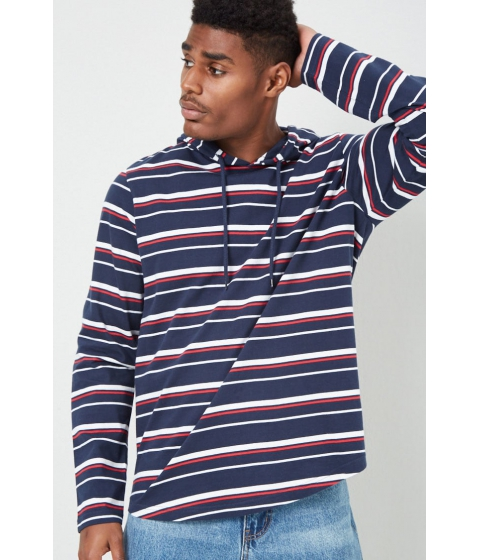Imbracaminte Barbati Forever21 Hooded Multicolor Striped Tee NAVYRED