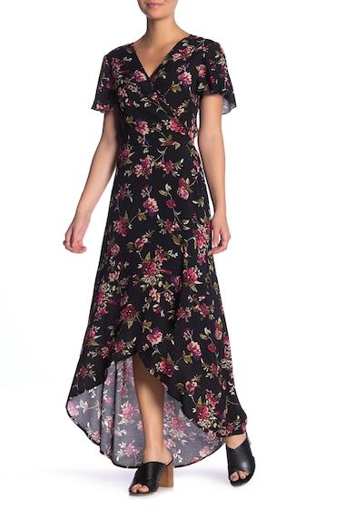 Imbracaminte Femei Band of Gypsies Lianna Printed Hi-Lo Wrap Dress BLK MAUV 2416