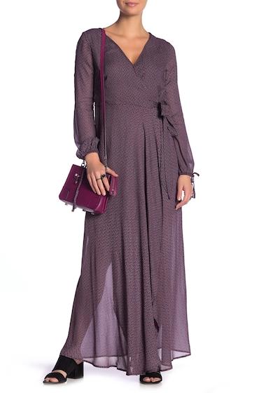 Imbracaminte Femei Band of Gypsies Jacey Wrap Printed Maxi Dress BURGUNDY BLACK 2557