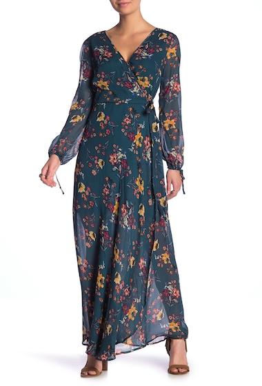 Imbracaminte Femei Band of Gypsies Jacey Wrap Printed Maxi Dress EMERALD GOLD 2348