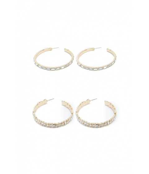 Bijuterii Femei Forever21 Jeweled Hoop Earrings GOLDCLEAR
