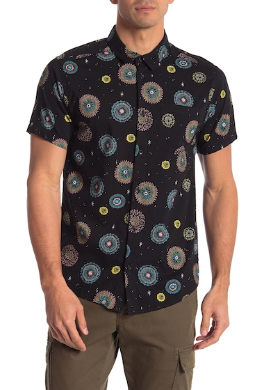 Imbracaminte Barbati RVCA Fireworks Luke Pelletier Short Sleeve Slim Fit Shirt BLACK