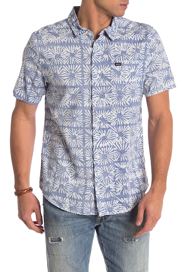 Imbracaminte Barbati RVCA Flower Block Short Sleeve Regular Fit Shirt COBALT